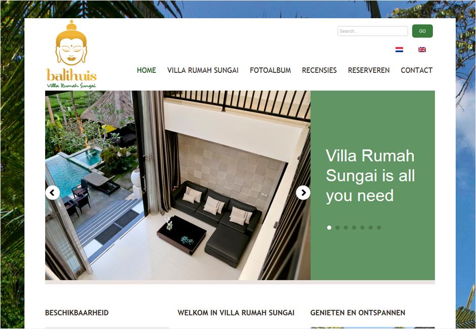 SEO website upgrade en Engelse vertalingen van de lovende recensies op de website van de prachtige Villa Rumah Sungai op Bali. Vakantievilla te huur!
