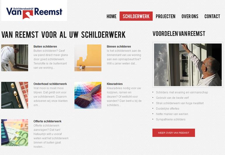 Van Reemst, schildersbedrijf in Bennekom, heeft de website vanreemst.net door Bilancia Marketing Energy om laten zetten naar een mooie WordPress website.