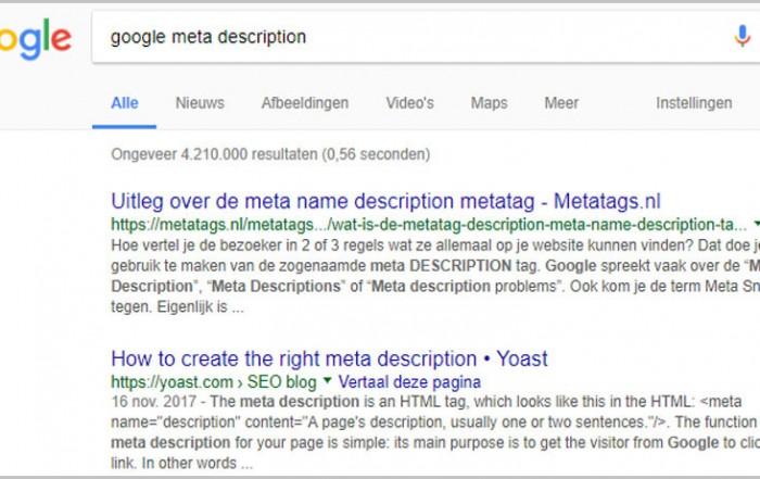 Langere pagina beschrijvingen in zoekresultaten bij Google.